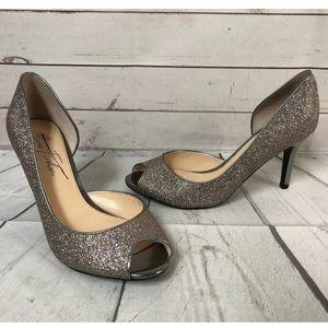 Marc Fisher Glitter Peeptoe Heels shoe Silver 6.5